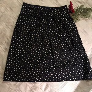 Vintage JCrew Polka Dot Full Skirt Black CreamSz 8